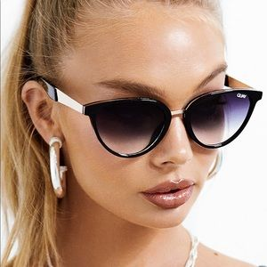 Quay Black Cat Eye Sunglasses Faded Lens Rumours